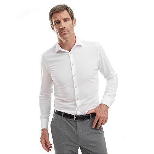 Camisa Hombre Manga Larga de Vestir Slim fit (Blanco, XL)