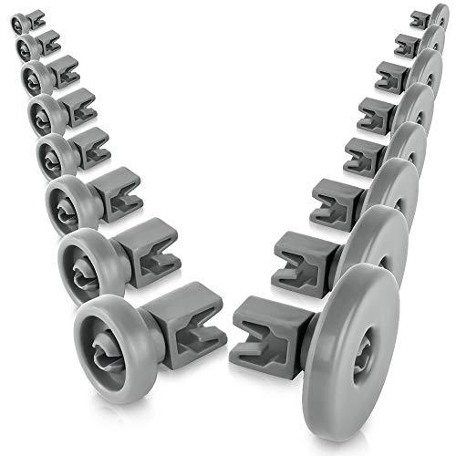 Set di rotelle lavastoviglie cestello [cesto superiore / inferiore] - universale adatte a molte cestello lavastoviglie - ricambi lavastoviglie rex