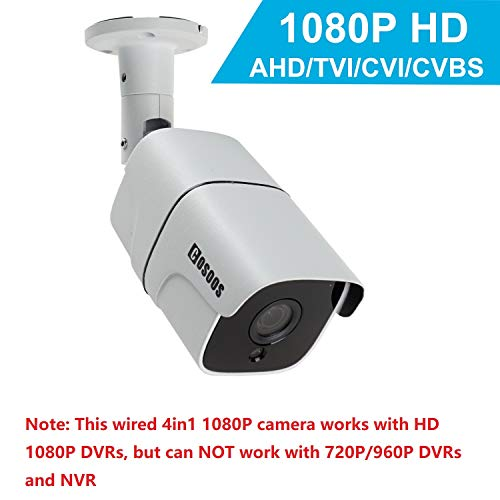 Telecamera di sicurezza bullet bullet 1080P 2.0MP HD, COSOOS Hybrid 4-in-1 AHD/TVI/CVI / 960H Analog CVBS impermeabile antipolvere Telecamera di sorveglianza CCTV esterna/interna, 36 LED 115ft