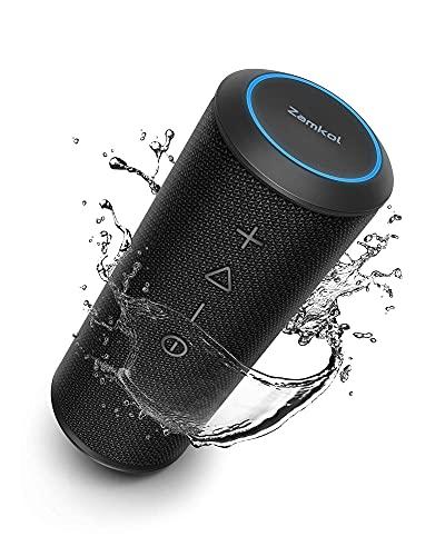Cassa Bluetooth Zamkol Altoparlante Portatile con Bassi Potenti, Impermeabile, 15 Ore, TWS, Mic, Potente 360 Suono Stereo Speaker per Esterno, Cucina, Viaggio, Festa, Regalo