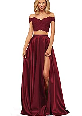 ♥ Cute Off shoulder Two Piece Prom Dress For Girls ,Off Shoulder Lace Appliques 2 piece Prom dresses With Slit , Formal Party Dress,Zipper Back ,Floor-Length With Train,with Built-in bra ♥ SIZE CHOOSE: Plus size dress 2-24W and custom size are availa...