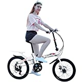 Lomelomme 20 inch Folding Bikes for Adults Teens,Ultra-Light Portable City Folding Bike Bicycle, Mini Protable City Coummter Bike Folding Compact Suspension Bike Bicycle for Man Women