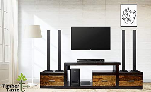 Sheesham Wood 1.75 Meter Dark Walnut & Teak Draw 3 Draw Nadia TV Unit Cabinet Entertainment Stand