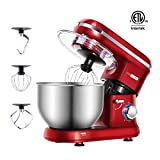 VIVOHOME Stand Mixer, 650W 6-Speed 6-Qt. Tilt-Head Kitchen Electric Food Mixer with Beater, Dough Hook and Wire Whip, Red, ETL Listed