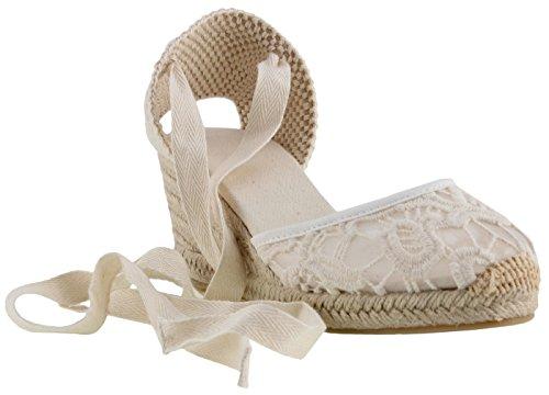 SimpleC Zapatos de Cuña de Tobillo con Tacón de Tobillo Clásico para Mujer, Sandalias de Alpargatas Pompom de Piel de Oveja Blanco Cordón39