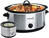 Crockpot SCV803-SS 8 quart Manual Slow Cooker with 16 oz Little Dipper Food Warmer, Stainless Steel