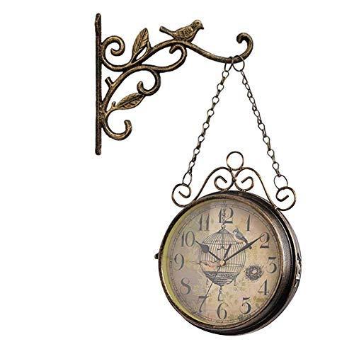 Orologio da Parete Vintage, Orologio su Due Lati, Struttura Resistente in Ferro, Vintage, Ampio...