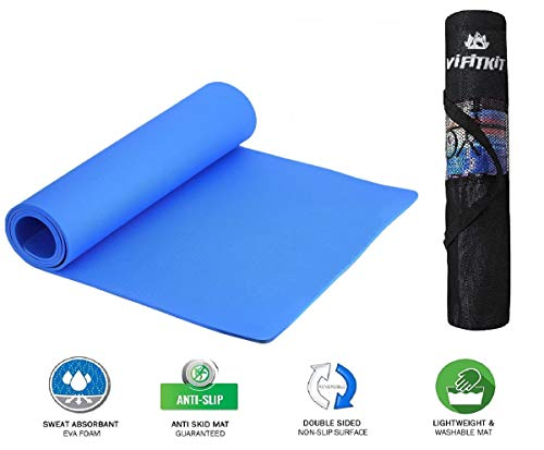 VIFITKIT® Yoga Mat Anti Skid EVA Yoga mat with Bag for Gym Workout and Flooring Exercise Long Size Yoga Mat for Men and Women (Color - Blue 8mm)