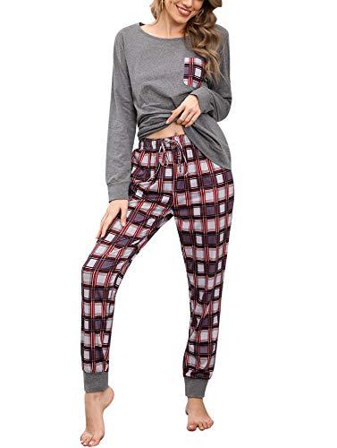 Pijamas Mujer Conjunto de Pijama a Cuadros para Dama Pjs Top