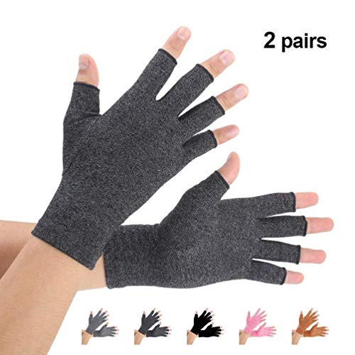 Brace Master 2 Pairs Women Compression Gloves Arthritis Gloves Fingerless Hand Brace Support Warmth for Finger Joint, Relieve Pain from RSI, Carpal Tunnel and Tendonitis (Black, Large)
