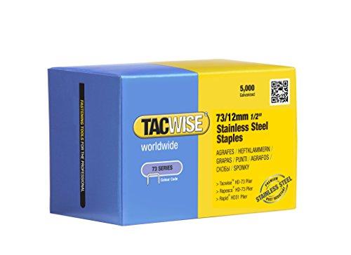 Tacwise 1228-73 x 12 mm tipo graffette in acciaio inox cucitrice pinze (5000 pezzi)