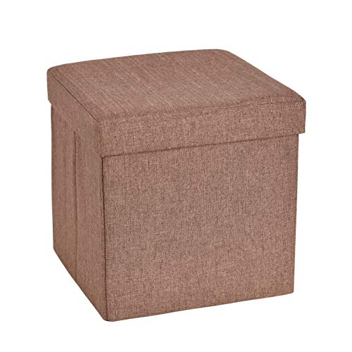 Slashome 13.8 inches Storage Ottoman Cube, Foldable Linen Footrest Stool with Padded Seat, Max Load 350lbs, Brown