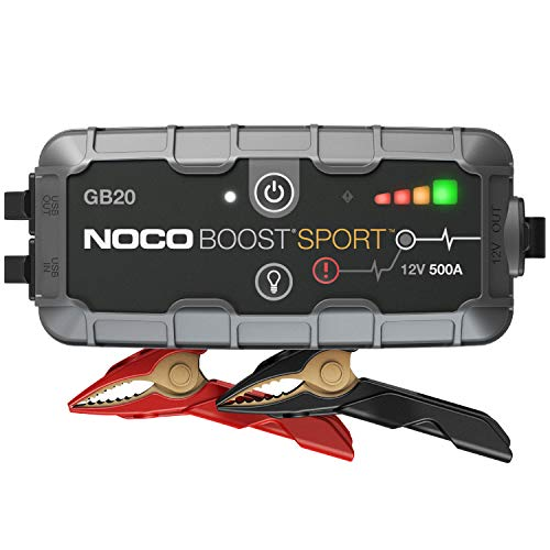 NOCO Boost Sport GB20 500 Amp 12-Volt UltraSafe Portable Lithium Jump Starter Box, Car Battery Booster Pack, And Heavy Duty Jumper Cables For Up To 4-Liter Gasoline Engines
