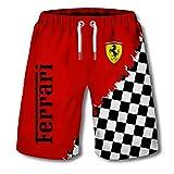 Pantalones Cortos De Verano para Hombres Pantalones De Playa Impresos con El Logotipo Digital 3D De Ferrari Pantalones Cortos Casuales para El Hogar (3,M)