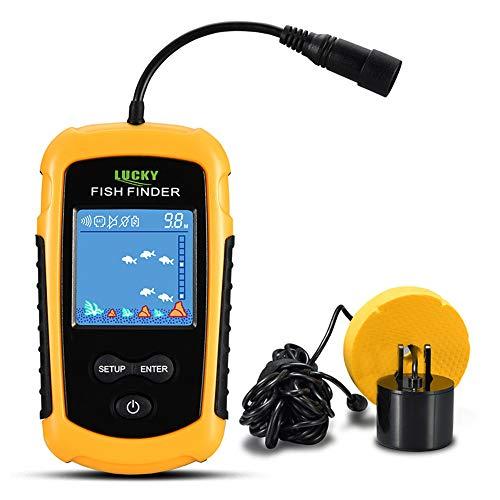 Lixada Ecoscandaglio da Pesca, Cercatore di Pesci da Pesca -Trovatore di Pesci Cablato, Colore Portatile, Sensore LCD, 100 m di profondit