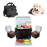 Luxja Bolso de Viaje para Perro (Incluye 2 recipientes de Comida, 2 tazones Plegables y 1 Desmontable Estera para alimentación), Maleta de Viaje para Accesorios de Perros, Negro