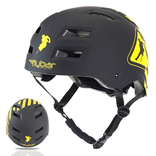 Flybar Dual Certified CPSC Multi Sport Kids and Adult Bike And Skateboard Adjustable Dial Helmet, M-L, Warning