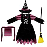 Brwoynn Fairytale Cute Witch Dress, Halloween Witch Costume Set for Girls, Halloween Dress Up Party and Roleplay Cosplay Set (Small)