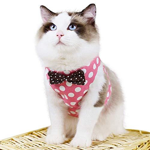 OYANTEN 犬 猫用 ハーネス リード セット 首輪 胴輪 牽引ロープ ネコのハーネス 猫さんぽひも チワワ 水玉...