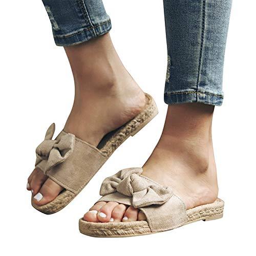 2019 Mujer Sandalias Y Chanclas, Alpargatas Planas Con Lazo De Vestir Vacasiones Playa Outdoor Interior Chanclas De Verano Zapato Con Punta Abierta Zapatillas De Talla Grande 36-43(Beige, 39)