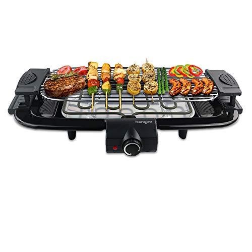HengBO Barbecue Elettrico Grill, Senza Fumo Antiaderente Grill con Vassoio Raccogli Olio per 6...