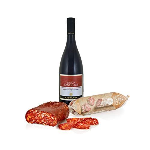 Kit Aperitivo 'I gusti decisi' vino rosso Cir Rosso Classico Superiore Riserva DOC, Spianatina piccante 250g e Salame gran filetto 170g, Salumi Pasini