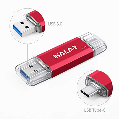 THKAILAR 64GB USB Stick OTG Speicherstick 2-in-1 Flash Drive USB 3.0 Memory Stick USB Type C Stick USB Pen Drive USB Flash Laufwerk für PC/Laptop/Notebook, und andere USB-Geräte (64GB, rot)