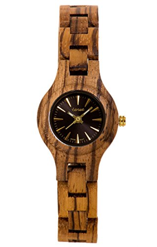 TENSE 'Pacific Zebranoholz' Damen Holzuhr Zebranoholz Ø 26 mm Armbanduhr aus Holz analog Quarz L7509Z