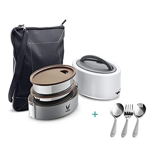 Vaya Tyffyn with Cutlery Set - White 600 ml Polished Stainless Steel Lunch Box + Bagmat + 3 Piece...