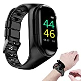 MOGOI Waterproof Smart Watch Bracelet & Wireless Blue Tooth Headset, 2-in-1 Sports Smart Bracelet Contains Invisible Magnetic Charging Dual Blue Tooth Earbuds for Motion Tracking, Listen Music