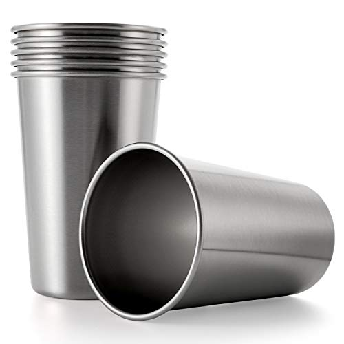 Tosnail 6 Pack Stainless Steel Pint Cups Water Tumblers - Great...
