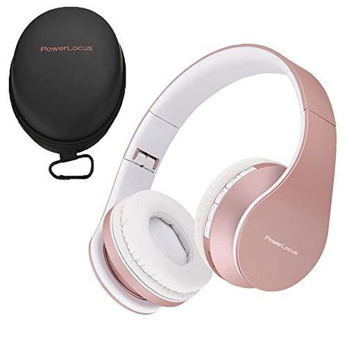 PowerLocus Cuffie Bluetooth Senza Fili Over-Ear Cuffie Stereo Pieghevoli Auricolari, Wireless Cuffie Riduzione del Rumore con Microfono per iPhone, Samsung, LG, iPad, PC, iPod (Oro Rosa)