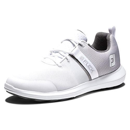 FootJoy Men's FJ Flex Golf Shoe, White, 11