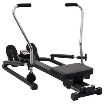 vidaXL Machine à Ramer 5 Niveaux de Résistance Hydraulique Rameur Fitness Exercice Machine d'Entraînement Salle de Gym Hommes Femmes