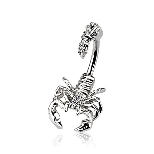 Dynamique Scorpion with Multi Gemmed Head and Tail 316L Stainless Steel Belly Button Ri.