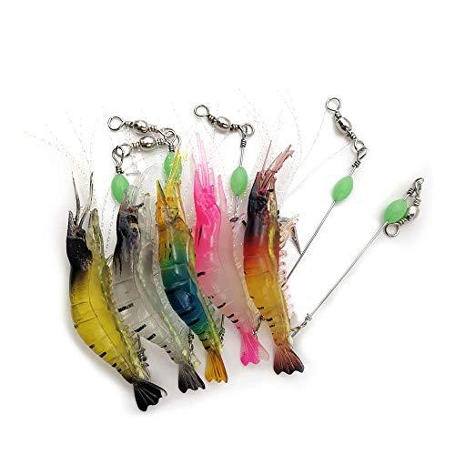 WJUAN 5 Pezzi Falso Gancio per Esche per Gamberetti 9 cm/ 5,7 g Esca Gamberi Luminosi, Finti Gamberi con Ami Adatta per Pesca a Mosca Pesce Persico di Pesce di Mare (5 Colori)