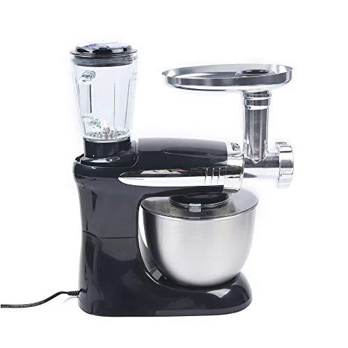 3-in-1 Electric Küchenmaschine Mit Kochfunktion Multi 4L Mixer Rührer, 1KW 6 Gang Küchenmaschine Multifunktions Rühraufsätzen Fleischwolf und Mixer (Schwarz)
