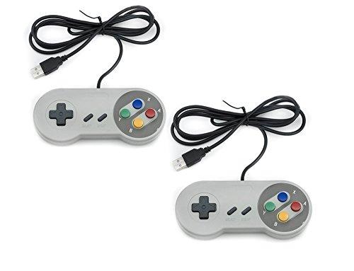 QUMOX 2 x Nintendo Juego de PC Gamepad Controlador SFC Mando de...