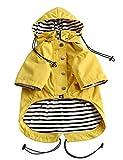 Stylish Premium Dog Raincoats - Dog Wear Yellow Zip Up Dog Raincoat with Reflective Buttons, Pockets, Rain/Water Resistant, Adjustable Drawstring, Removable Hood