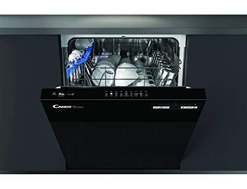 Lave vaisselle encastrable 60 cm Candy CDSN2D350PB - Lave vaisselle integrable Bandeau noir - Classe énergétique A++ / Affichage temps restant - Départ différé