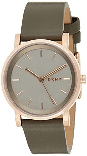 DKNY Damen Analog Quarz Uhr mit Leder Armband NY2341