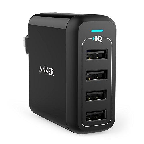 Anker PowerPort 4 (40W 4ポート USB急速充電器) 【PSE認証済 / PowerIQ搭載 / 折りたたみ式プラグ搭載】iP...
