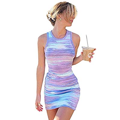 Material:This tie dye dress is made of polyester and spandex,durable and breathable fabric,comfortable to wear. Features:Mini dress for women,featuring tie dye print,sleeveless,round neck,above knee.And slim design can show your perfect figure. Match...