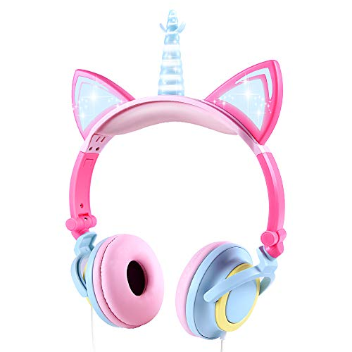 Cuffie Unicorno Bambina, Sunvito cuffie gatto orecchie led, Cuffie per Bambini Unicorno con filo, Pieghevoli cuffie bambine femmine di 2 anni to 10 anni, 85dB Volume