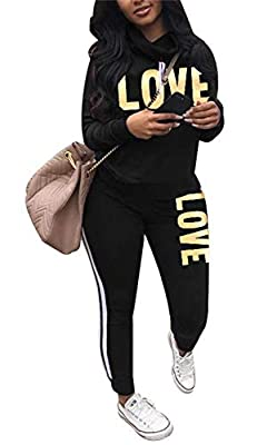 Material: Polyester + Spandex. Soft, stretchy and comfortable to wear. Feature: Turtle neck long sleeve pullover tops with drawstring, Side stripe patchwork skinny long pants, LOVE letter print, Jogging suits tracksuits sweatsuits for women. Matching...