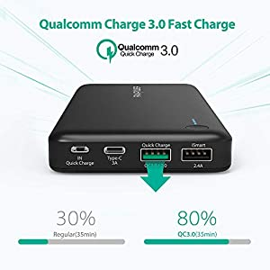 USB C Power Bank RAVPower 20100 Portable Charger with QC 3.0 Qualcomm Quick Charge 3.0, 20100mAh Input & Output Type C Battery Pack for Nintendo Switch, iPhone, MacBook, Galaxy S8 and More
