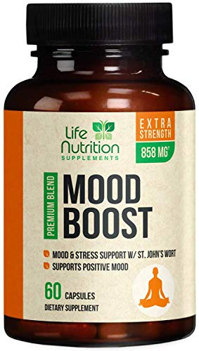 Mood Boost Support for Stress 1100mg - Positive Mood and Focus Support Supplement, Made in USA, Natural Serotonin and Dopamine Nootropic Formula with 5-Htp, Ashwagandha, GABA - 60 Capsules