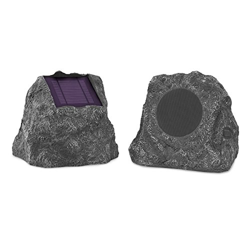 Innovative Technology Premium 5-Watt Bluetooth Outdoor Rock Speakers with A/C Adaptor, Built In Rechargeable 5200mAh Battery and Solar Panels, Pair, Charcoal