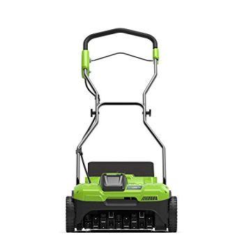 Greenworks Aérateur de Gazon à Batterie G40DT35 (Li-Ion 40V Largeur de Travail 35cm 3600 Tr/Min 20 Lames en Acier avec 76cm de Profondeur Sac Collecteur 20L Livré sans Batterie et Chargeur)