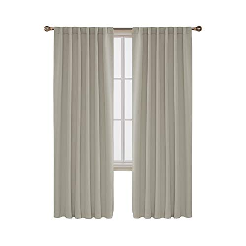 Deconovo Solid Back Tab and Rod Pocket Solid Thermal Insulated Blackout Curtain and Drapes for Living Room 52W x 84L Inch Set of 2 Panels Light Beige